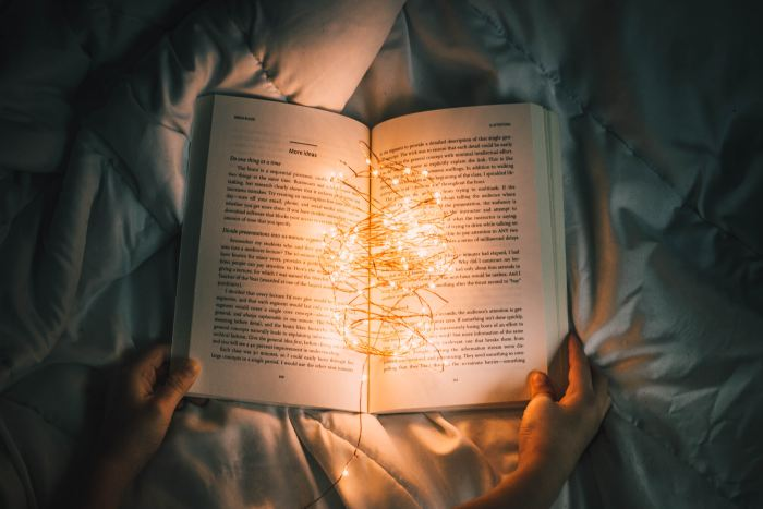 A book with fairy lights
