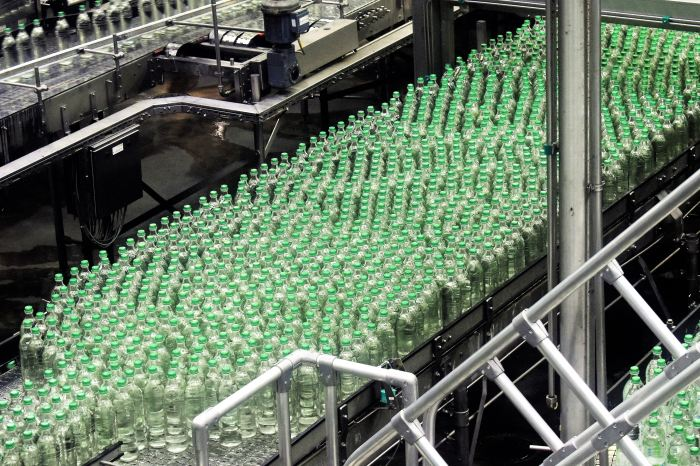 glass bottles on a production line