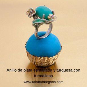 Tabata Morgana - Anillo de plata esmaltada y turquesa con turmalinas