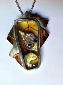 Pedro Sequeros - Colgante en vidrio, cobre y plata, año 2013