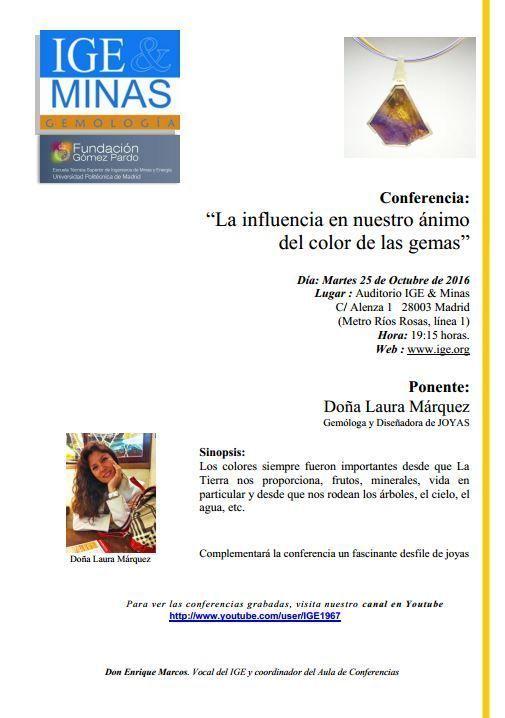 Conferencia Laura Marquez - La influencia en nuestro ánimo del color de las gemas