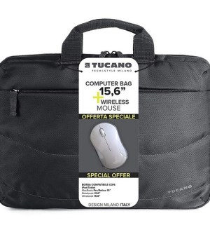 Tucano 15.6″ Laptop Bag Wireless Mouse Bundle Black | BU-BIDEA-WM