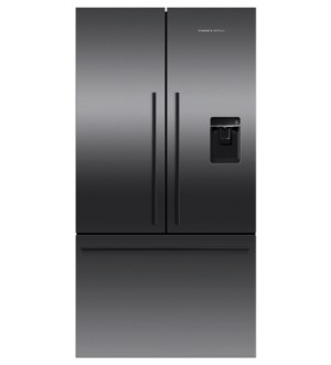Fisher & Paykel 90cm French Style Fridge Freezer with Water & Ice | Black Stainless Steel | RF540ADUB6