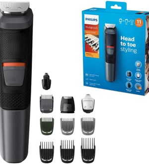 Philips 11-in-1 All-In-One Trimmer, Series 5000 Grooming Kit for Beard, Hair & Body with 11 Attachments, Including Nose Trimmer, Self-Sharpening Metal Blades | MG5730/33
