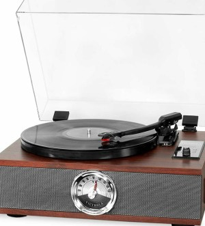 Victrola  Park Avenue 5-in-1 Wood Record Player with 3-Speed Turntable, Bluetooth, CD and Radio – Mahogany   256937