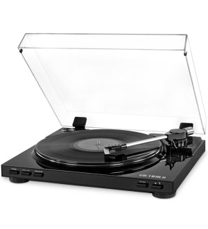 Victrola  Pro Semi-Automatic Record Player with 2-Speed Turntable, Vinyl to MP3 USB Recording –  Black   256944