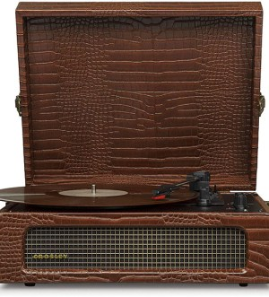 Crosley Voyager Turntable with Bluetooth Receiver & Speakers – Brown Croc   CR8017A-BR4