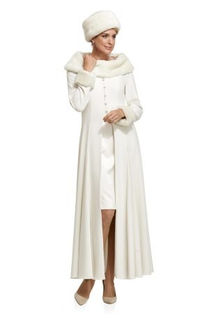 Swing Coat with Detachable Fur Collar and Cuffs