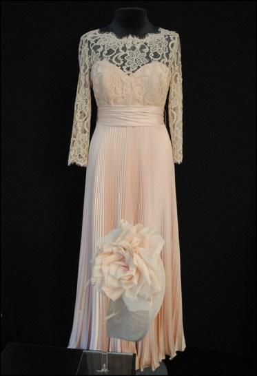 JMY Design photo studio Blush sunray pleat and lace dress