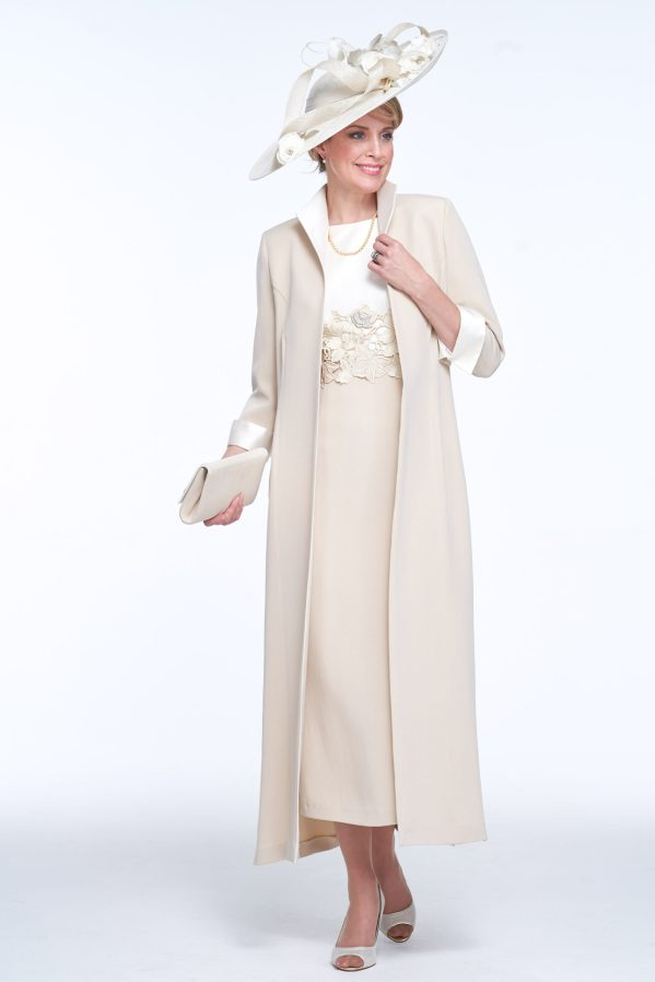 Elegant Coat and Dress with Guipure Detail