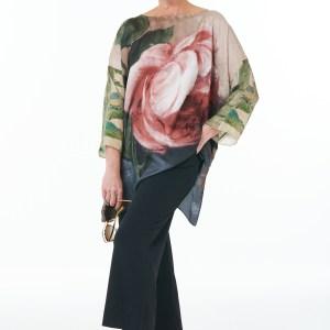 Black trousers silk rose tunic
