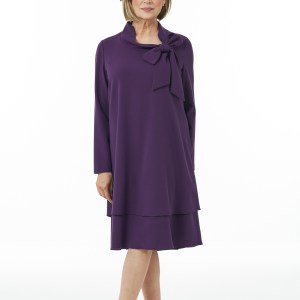Purple Bow Neck Dress