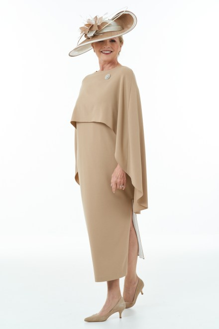 Camel and Ivory ankle length dress and cape