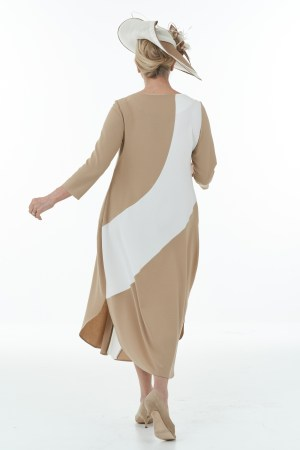 Colour Block Dress in Camel and Ivory