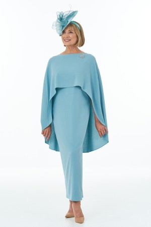 Duck egg side slit dress with slits and cape