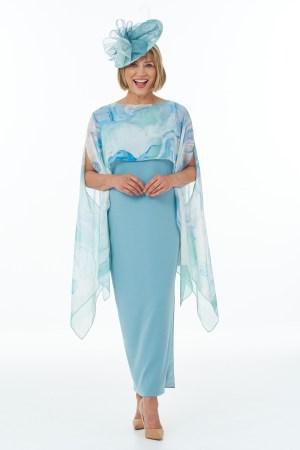 Duck egg side slit dress with slits and fine art scarf