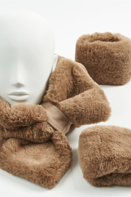 Camel Faux Fur Collar and Cuffs