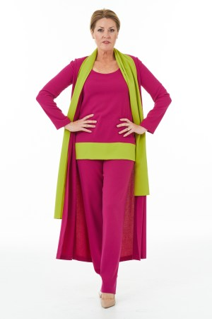 Fuchsia and lime trouser outfit