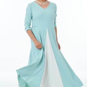 Mint and ivory Panelled dress with contrast inset