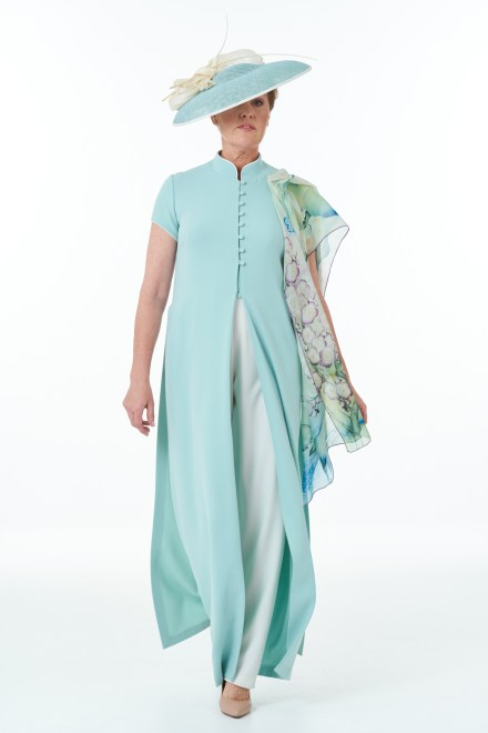 Mint ivory Oriental Coat and trousers