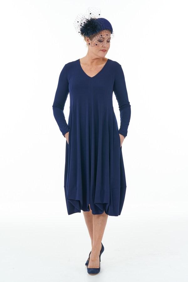 Navy Long Sleeve Knit Bubble Dress