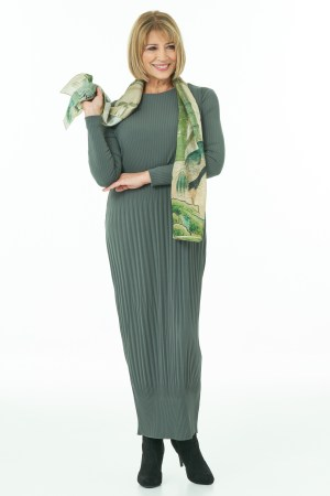 Olive Pleated Long Dress