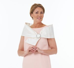 Long Side Slit Dress in Pink and Silk Dupion Bow Collar with Diamonte Buckle in Ivory