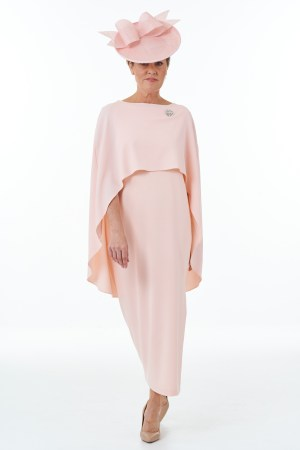 Long Side Slit Dress in Pink and cape in Pink