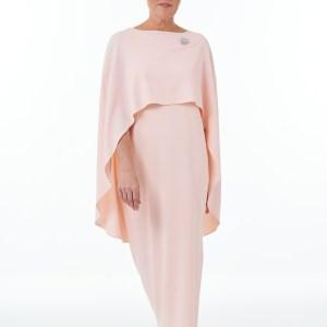 Pink side slit dress and cape