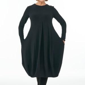Black long sleeved Round neck bubble dress