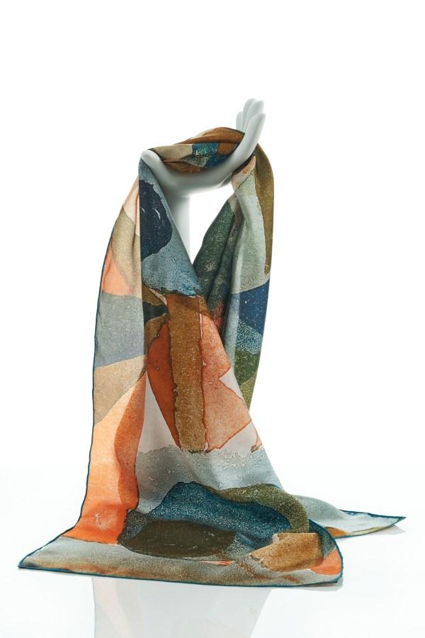 Paul Klee Coral Silk Habotai Scarf