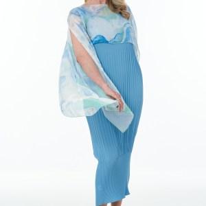 Sleeveless Pleated Waffle Dress in Wedgewood with fine art silk cape