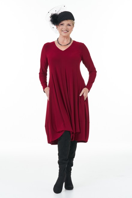 Long Sleeve Knit Bubble Dress in Wine casual Chic Collection