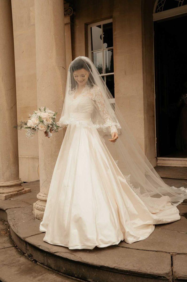 Stunning Joyce Young bride Helen on her wedding day