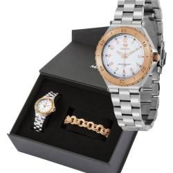 6b3fd46232a5 Pack Reloj Marea bicolor rosé