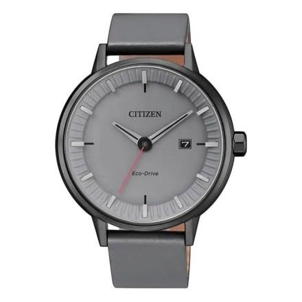 Reloj Citizen BM7375-18H de hombre NEW con caja de acero ip black y correa de piel gris Eco-Drive