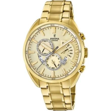 Reloj Festina F20267/1 de hombre NEW con caja y brazalete de acero chapado en oro colección Prestige