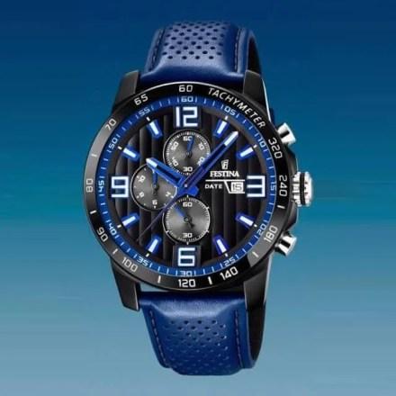 Reloj Festina F20339/4 de hombre NEW con caja de acero ip black y correa de piel azul The Originals