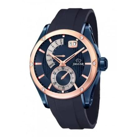 Reloj Jaguar J815/1 de hombre NEW con caja de acero ip oro rosa-azul y correa de resina azul Edición Especial