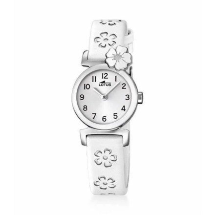 Reloj Lotus 18174/1 de niña NEW con caja de acero y correa de piel blanca especial Comuniones