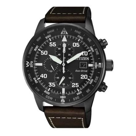 Reloj Citizen  CA0695-17E de hombre NEW con caja de acero ip black y correa de piel Crono Aviator