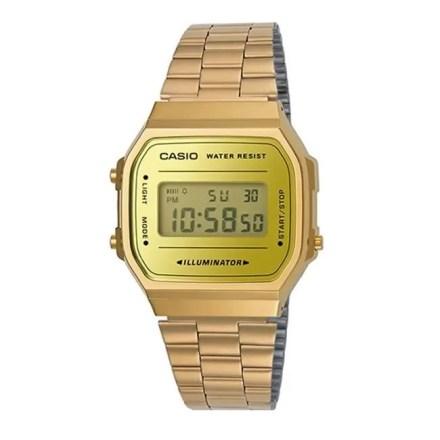 Reloj Casio unisex A168WEGM-9EF con caja de resina, correa de acero inoxidable y cierre ajustable