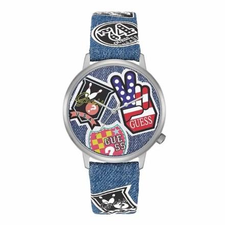 Reloj Guess V1004M1 de mujer de la Colección especial verano con caja de acero y correa de tejido vaquero