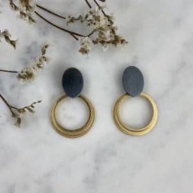 Pendientes bicolor negro y dorado