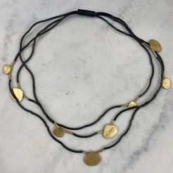 Collar de tubos de plata oxidada y formas irregulares enplata chapada