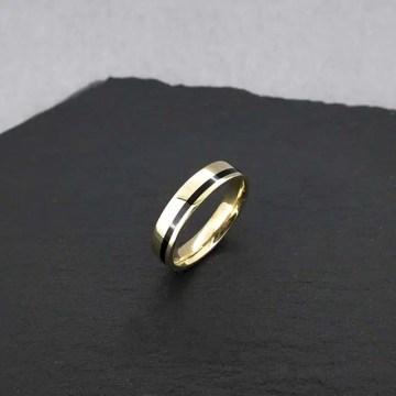 alianza de boda oro amarillo esmalte negro
