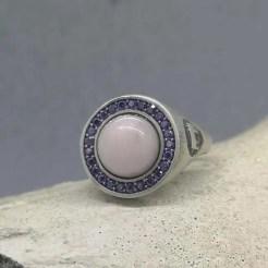 anillo de plata y cuarzo natural