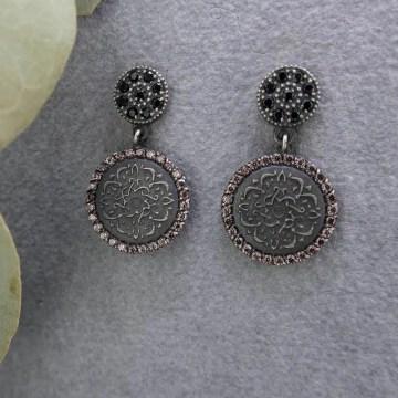 pendientes de plata con mandala budista