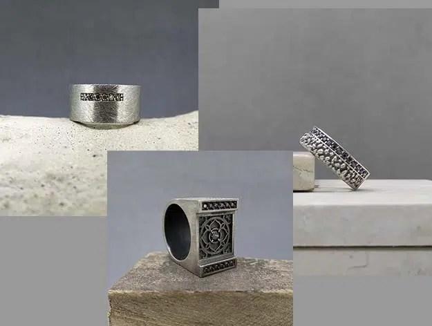 3 anillos de plata originales