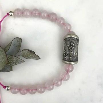 pulsera Virgen Pilar cuarzo rosa brillo natural